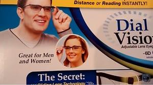 Dial vision adjustable lens glasses